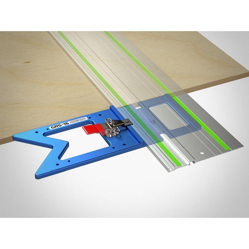 The GRS-16 PE Guide Rail square being used to align a guide rail square to the edge of a panel of MDF.