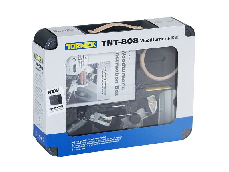Front of Tormek TNT-808 Woodturner's Kit in retail packaging.