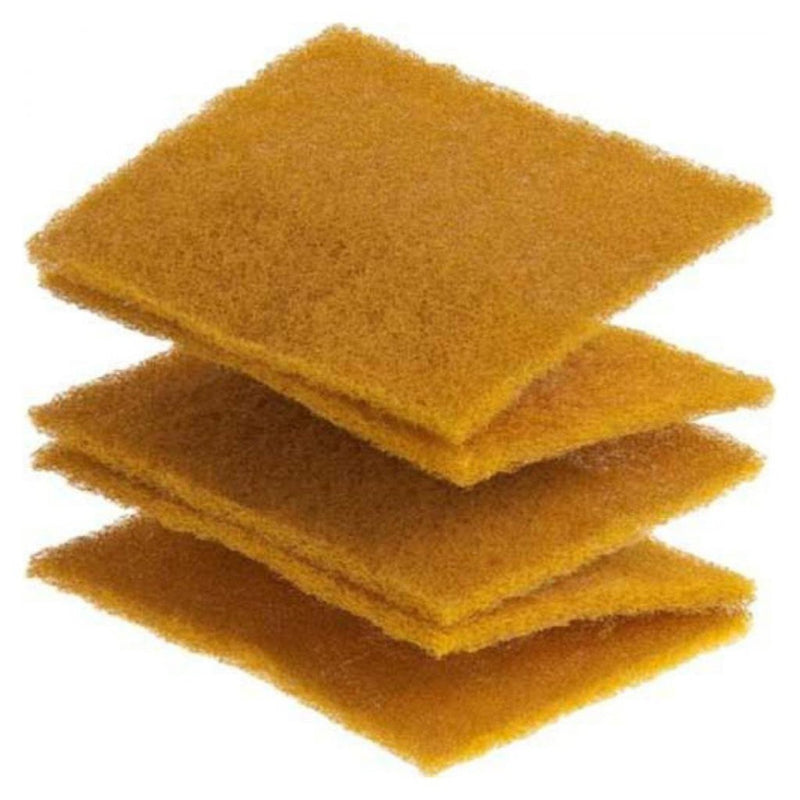 Gold-coloured Vlies is an extra-fine synthetic woven abrasive. It comes in 115x152mm pads that can be torn off.