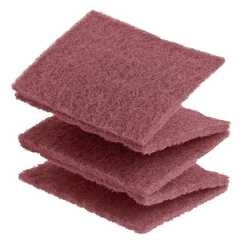 Maroon-coloured Vlies is a fine synthetic woven abrasive. It comes in 115x152mm pads that can be torn off.