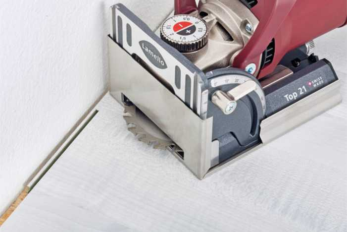 Lamello Top 21 Biscuit Joiner can cut very close to adjacent surfaces