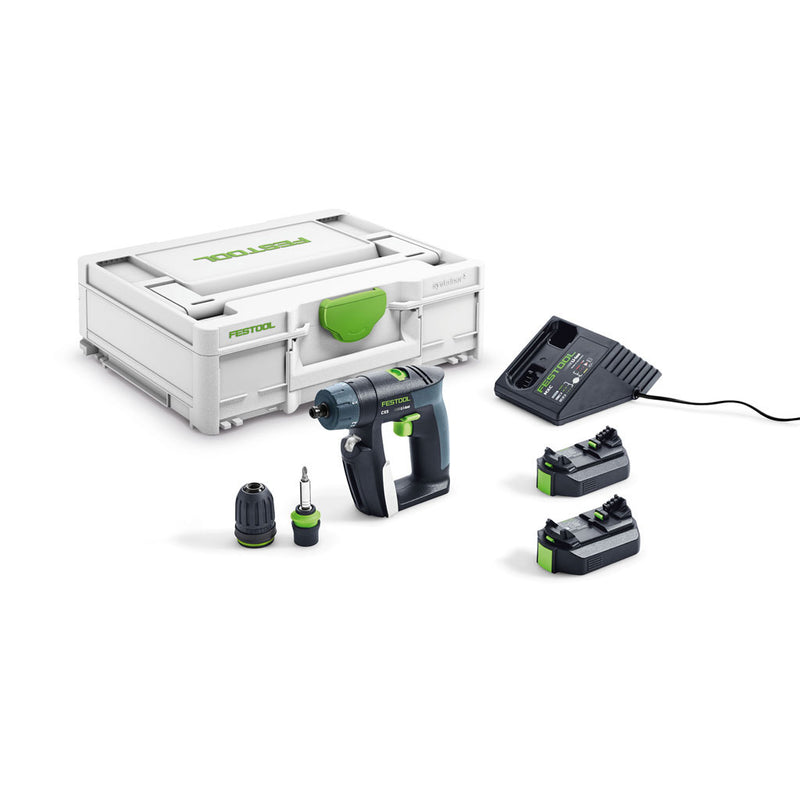 "The Festool CXS Cordless Drill Plus includes Systainer, 2 batteries, charger, CENTROTEC, and keyless 3/8"" chucks."