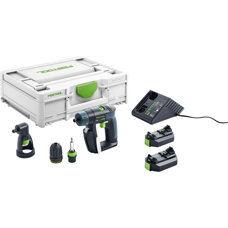 "The Festool CXS Cordless Drill Set includes Systainer, 2 batteries, charger, CENTROTEC, keyless 3/8"" & right angle chucks."