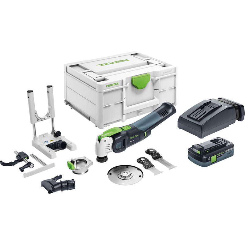 The Festool OSC 18 VECTURO Set includes Plunge Guide, Depth Stop, Dust Collection, Systainer, battery, charger, blades
