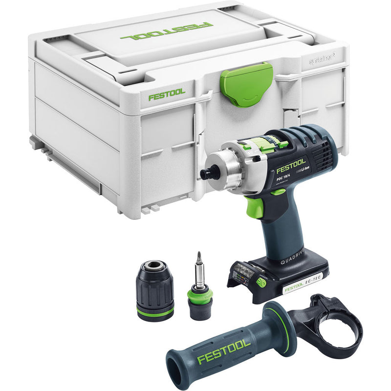 "The heavy-duty Festool PDC 4-speed cordless hammer drill includes Systainer, side handle, CENTROTEC and 1/2"" keyless chucks"