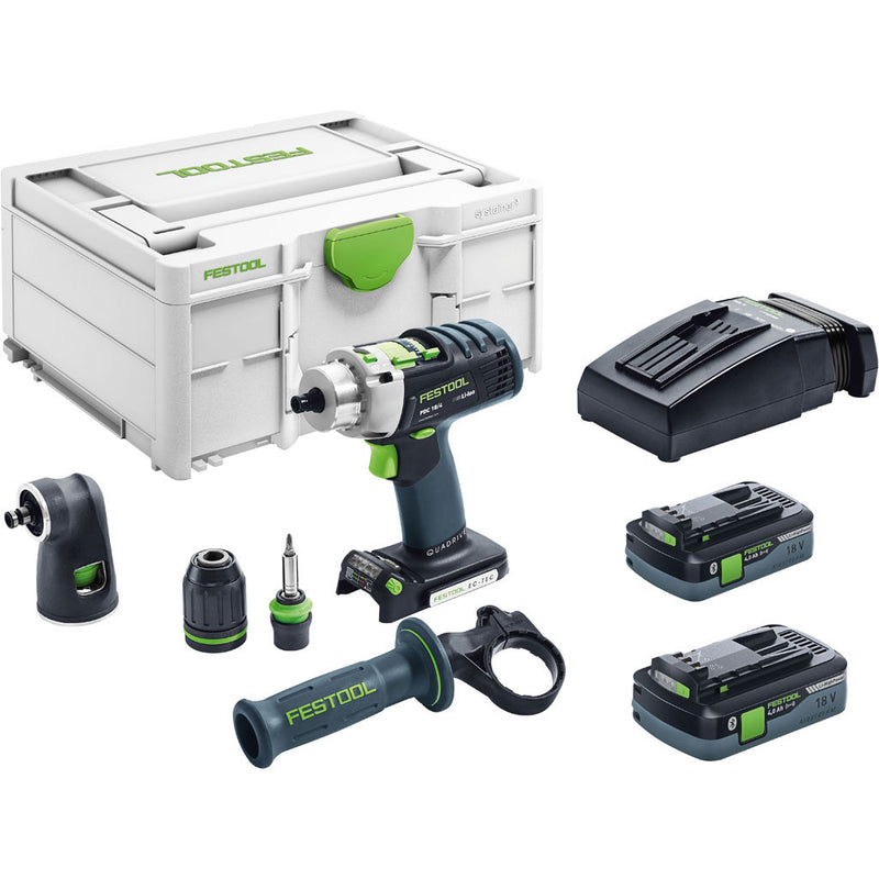 "The Festool PDC cordless drill includes Systainer, 2 batteries, charger, CENTROTEC, 1/2"" keyless & right angle chucks, handle"