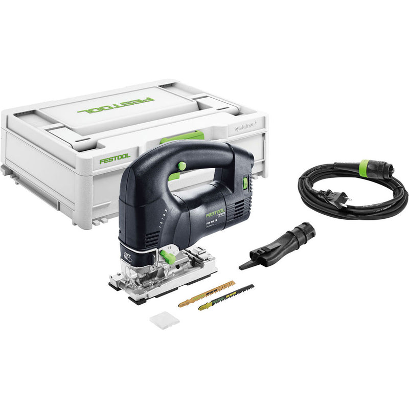 The Festool PSB 300 Trion Barrel Grip Jigsaw includes Systainer, dust port, Plug-it cable, splinterguard, and saw blades.