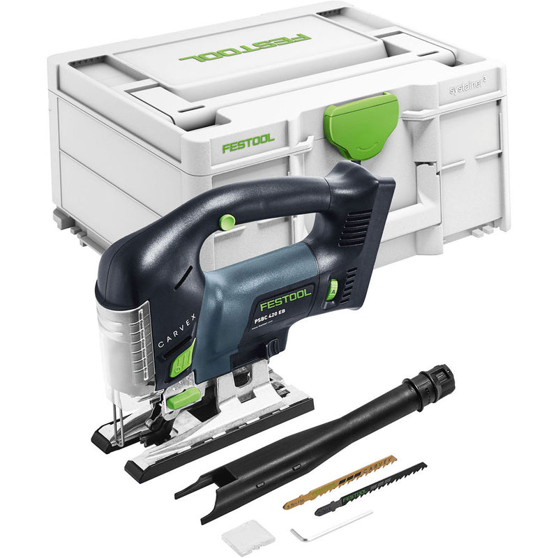 Festool's PSCB 420 Carvex D-Handle Cordless jigsaw includes Systainer, dust extraction tube, splinterguard, hex key, blades