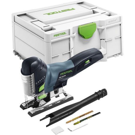 Festool's PSC 420 Carvex Cordless Barrel Grip Jigsaw includes Systainer, dust extraction tube, splinterguard, two blades