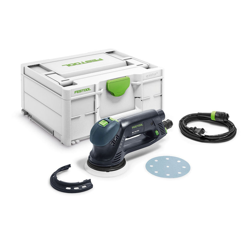 The Festool RO 125 FEQ-Plus Multi-Mode Rotex Sander includes edge protector, soft sanding pad, Plug-it cable, and Systainer.