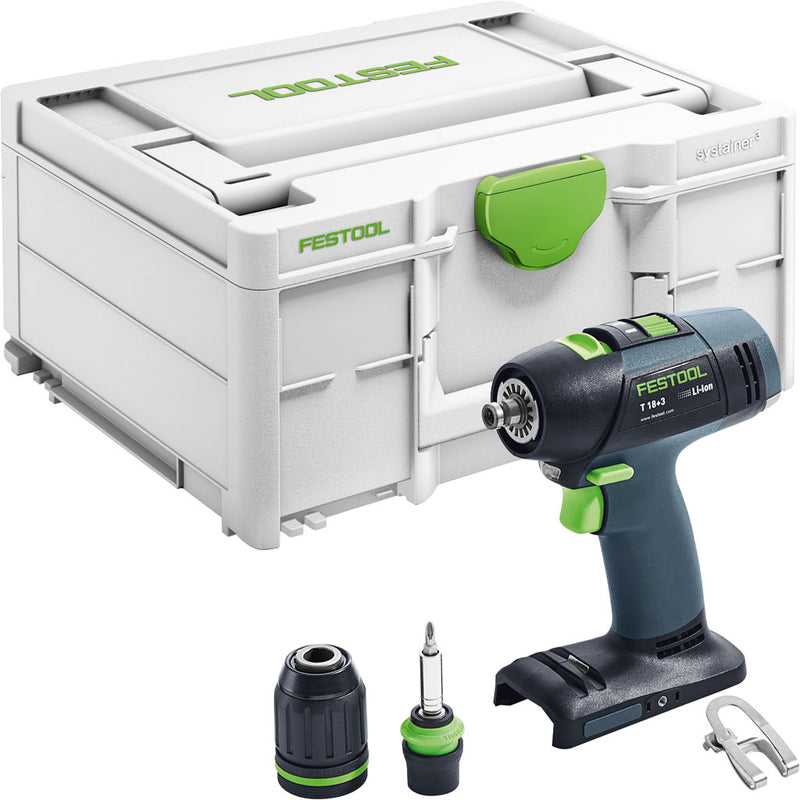 "The Festool T 18+3 Cordless Drill includes belt clip, 1/2"" keyless chuck, Centrotec chuck with bit holder, Systainer."