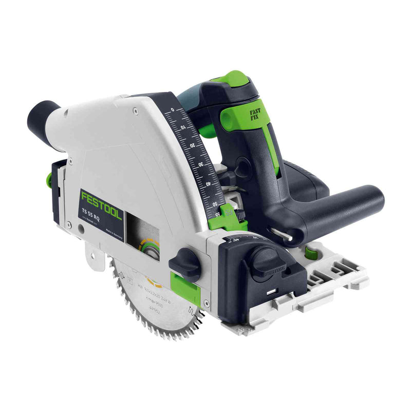 Festool TS 55 REQ plunge-cut track saw with blade plunged and splinterguard installed. Riving knife can be seen behind blade.