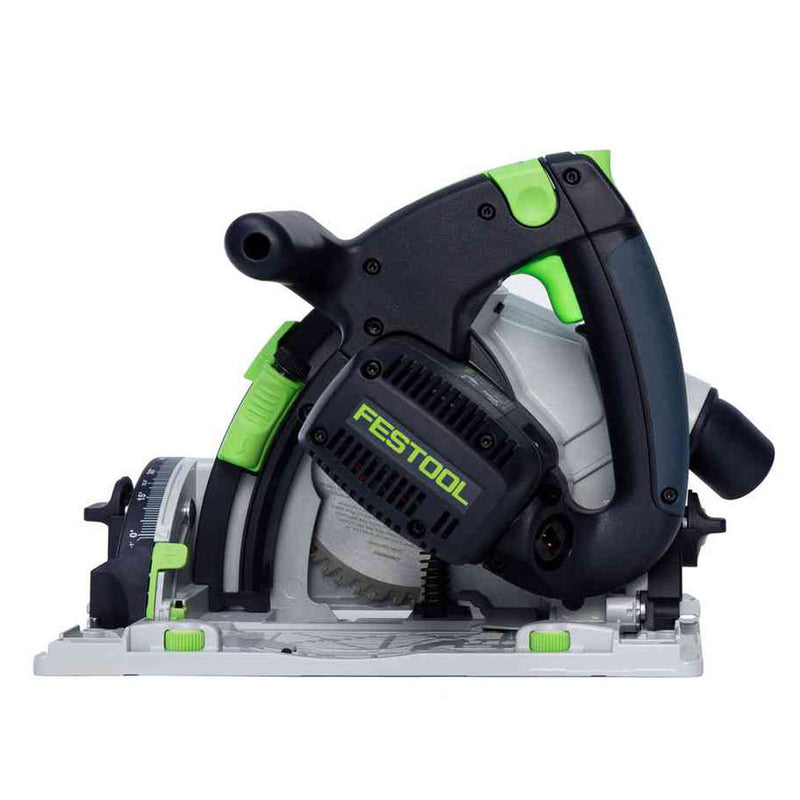 Controls for the Festool TS 55 REQ plunge-cut circular saw are green so they are easy to identify.