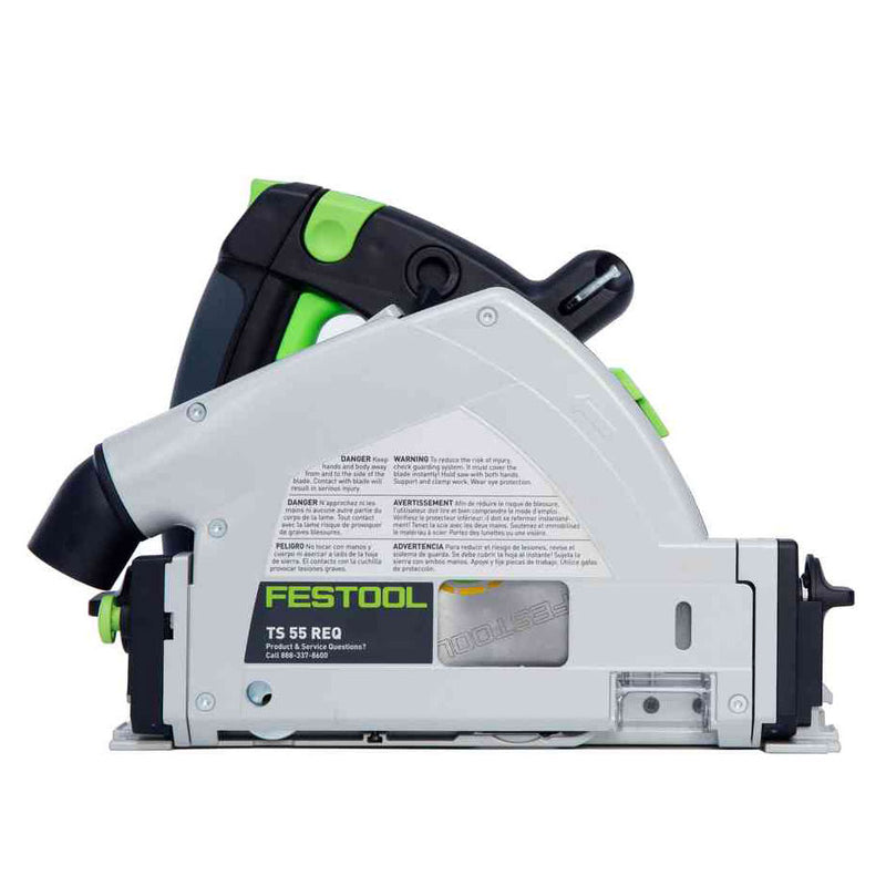 The right side of the Festool TS 55 REQ plunge-cut circular saw is completely flat & can be used 12 millimetres from a wall.