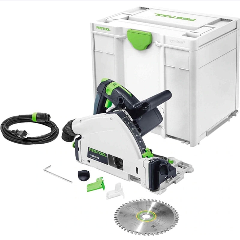 Festool's TS 55 REQ plunge-cut track saw has an imperial depth scale. Includes Systainer case, 48-tooth blade splinterguard.