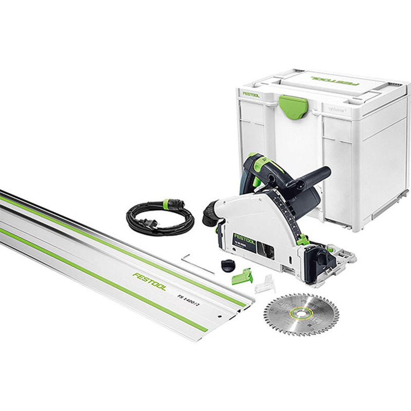 "Festool's TS 55 REQ plunge-cut track saw has imperial depth scale. W/Systainer, 48-tooth blade splinterguard, 55"" guide rail."