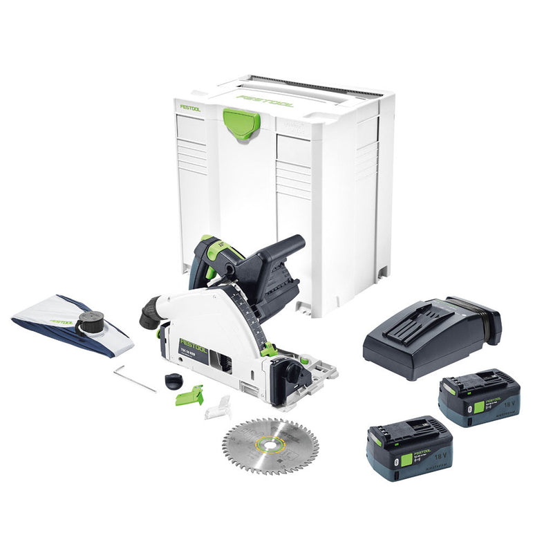 Festool TSC 55 REBI-F-Plus cordless track saw includes two batteries, charger, saw blade, dust bag, Systainer