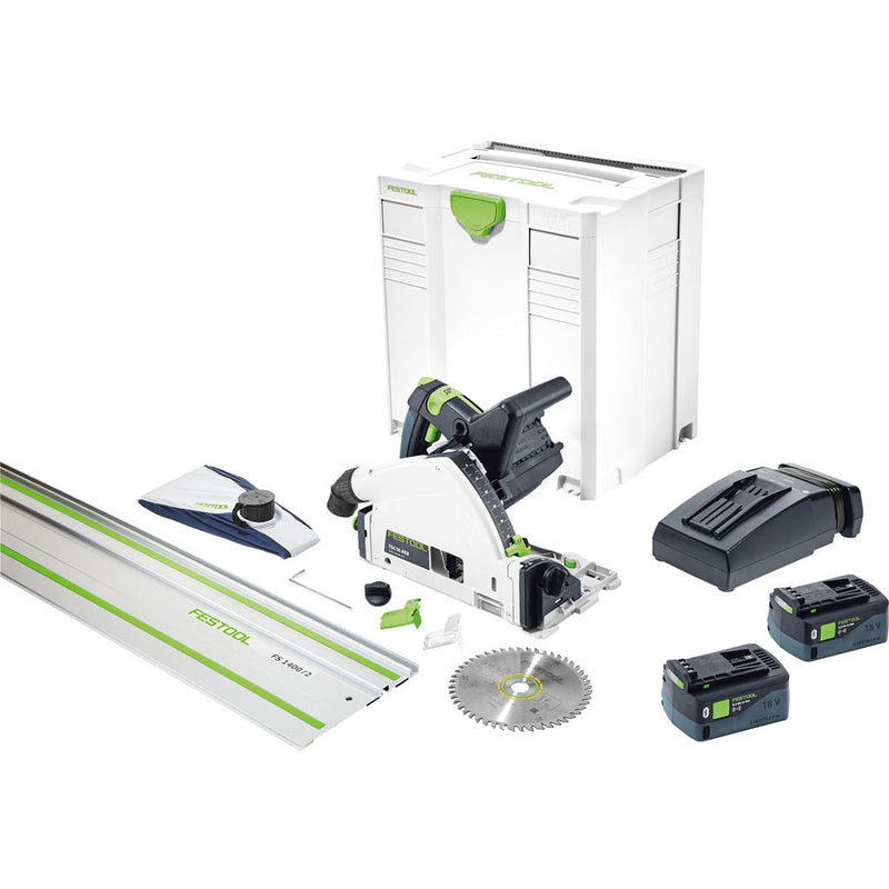 Festool TSC 55 REBI-F-Set cordless track saw includes two batteries, charger, guide rail, saw blade, dust bag, Systainer