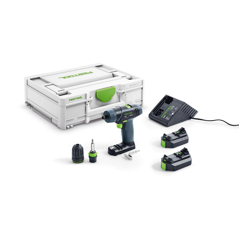 The Festool TXS T-Handle Sub-Compact Cordless Drill Set includes 2 batteries, charger, two chucks, belt hook and Systainer.