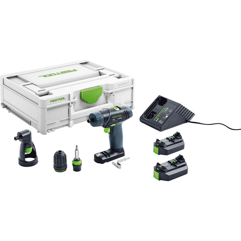 The Festool TXS T-Handle Sub-Compact Cordless Drill Set includes 2 batteries, charger, three chucks, belt hook and Systainer.