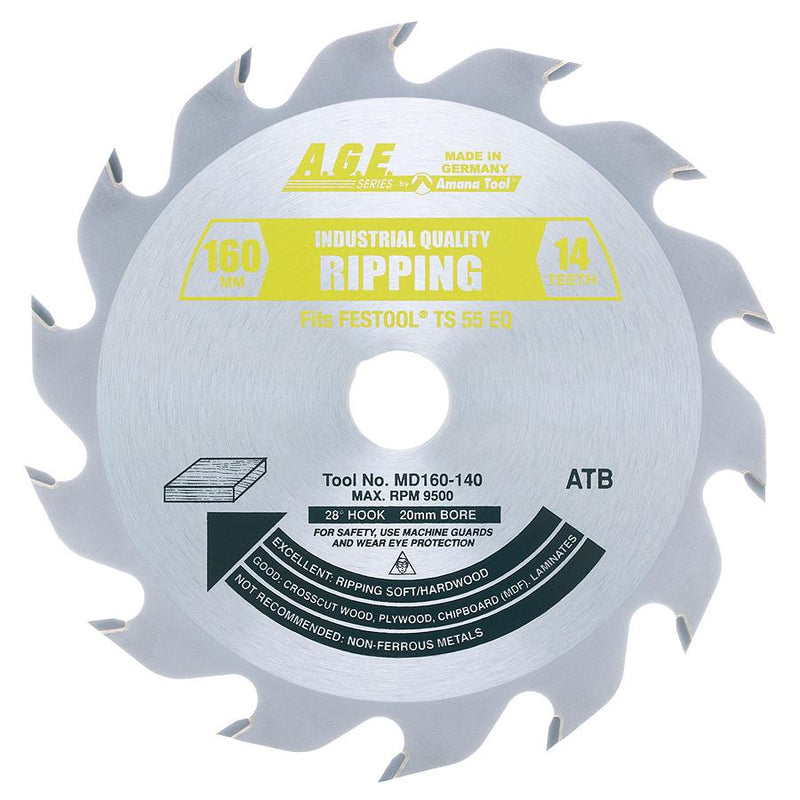 Amana MD160-140 Carbide Tipped Ripping Saw Blade 160mm D x 14T ATB, 28 Deg, 20mm Bore Fits FESTOOLå¨ TS 55 and Other Track Saw Machines
