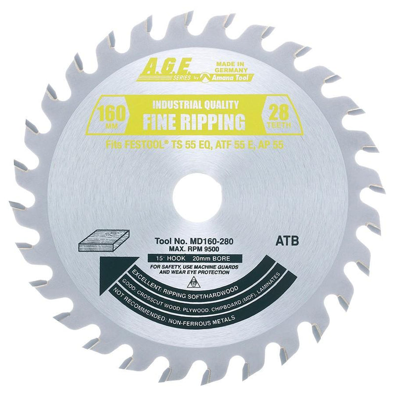Amana MD160-280 Carbide Tipped Saw Blade fits FESTOOL̴å¬ TS 55and Other Track Saw Machines, 160mm Dia x 28T ATB, 15 Deg, 20mm Bore, General Purpose Circular Saw Blade, Fits TS 55 EQ, ATF 55 E, AP 55