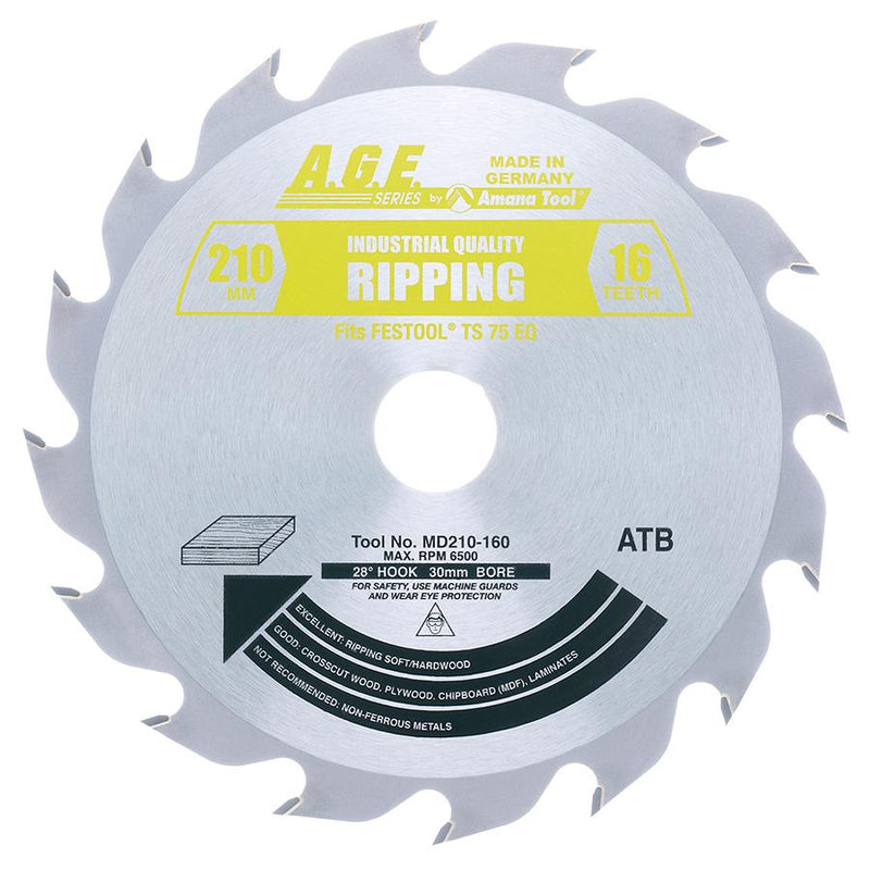 Amana MD210-160 Carbide Tipped Ripping Saw Blade 210mm D x 16T ATB, 28 Deg, 30mm Bore Fits FESTOOLå¨ TS 75 and Other Track Saw Machines