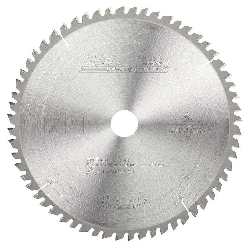 Amana MD260-600 Carbide Tipped General Purpose Saw Blade 260mm D x 60T ATB, -5 Deg, 30mm Bore. Fits FESTOOL Kapexå¨ Mitre Saw