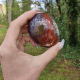 Reserved for Joanne, Violet Flame Agate Palm Stone (#17)