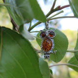 Baltic Amber Owl Pendant in Sterling Silver (#1)