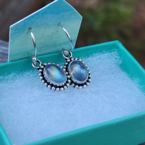 Rainbow Moonstone Dangle Earrings (#4)