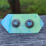 Rainbow Moonstone Stud Earrings (#2)