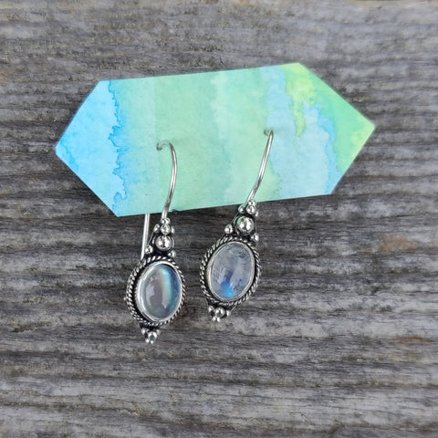 Rainbow Moonstone Dangle Earrings (#3)