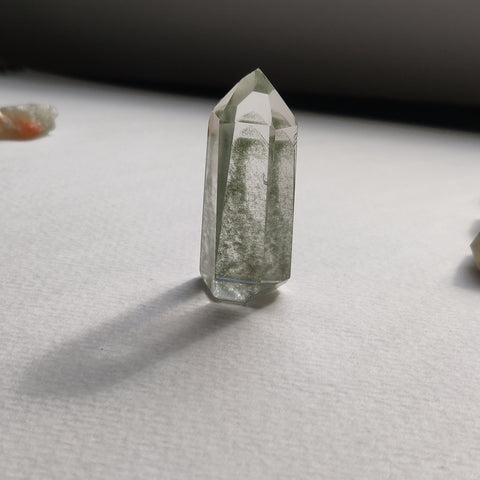 Reserved for Cindy, Garden Quartz Point with Green Chlorite Inclusions, Lodolite Point (#4)