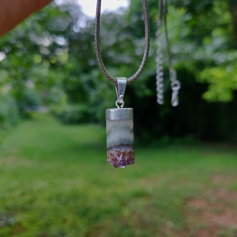 Amethyst and Agate Cylinder Pendant includes a FREE Cotton Cord Necklace (#1)