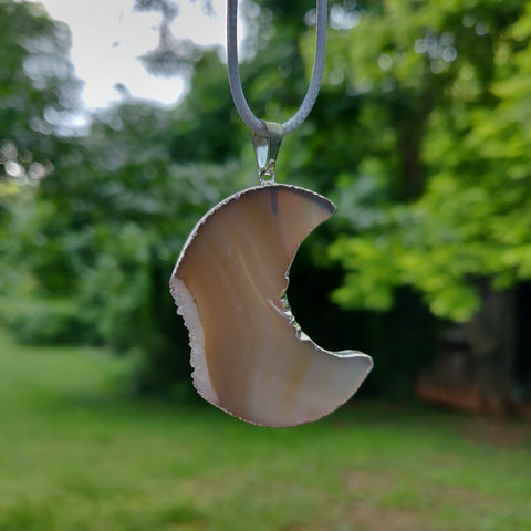 Agate Moon Pendant includes a FREE Cotton Cord Necklace (#1)