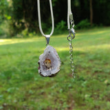 Agate Geode and Citrine Pendant includes a FREE Cotton Cord Necklace (#3)
