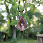 Agate Geode and Black Tourmaline Pendant includes a FREE Cotton Cord Necklace (#3)