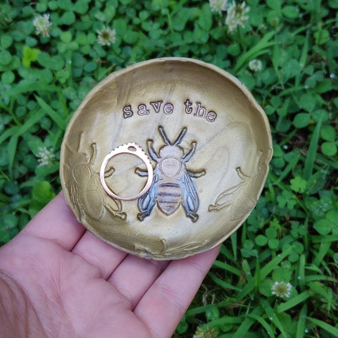 """Save the Bees"" Polymer Clay Honey Bee Trinket Dish"