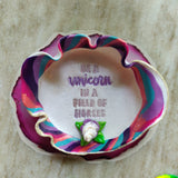 """Be a Unicorn"" - Unicorn Horn Polymer Clay Trinket Dish"