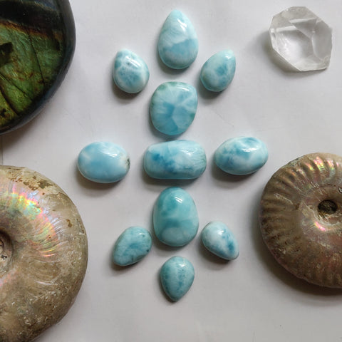 Reserved  - Lot of Larimar Cabochons