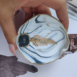 Marbled Fern Trinket Dish with Quartz