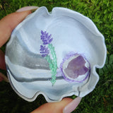 Marbled Lavender Trinket Dish with Amethyst