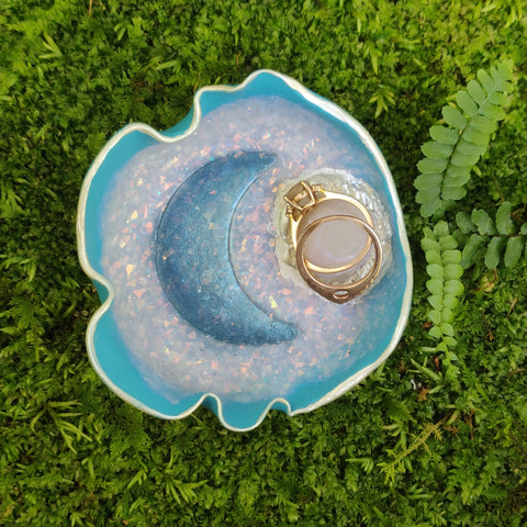 Restocked- Quartz Moon Blue Polymer Clay Trinket Dish