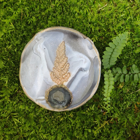 Restocked- Marbled Fern Trinket Dish with Quartz