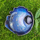 Amethyst Galaxy Moon Polymer Clay Trinket Dish