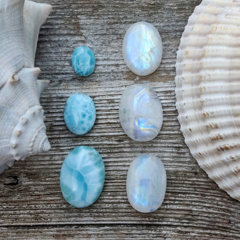 Reserved for Samantha, Lot of Larimar & Moonstone Cabochons