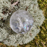 Clear Quartz Sphere with Rainbow Inclusions (#6)