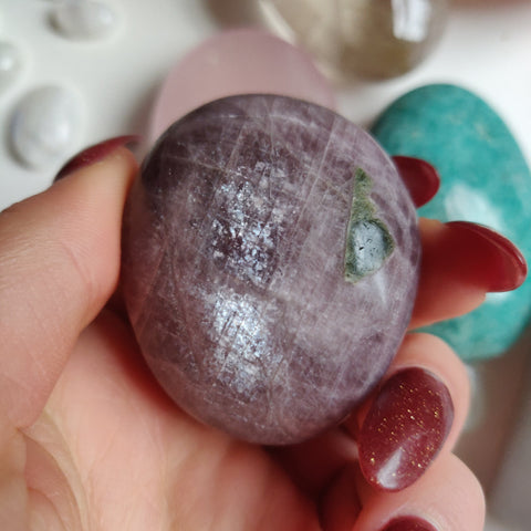 RARE Purple Anhydrite Palm Stone (#9)
