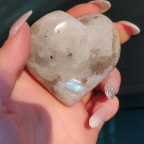 Rainbow Moonstone Heart (#1)